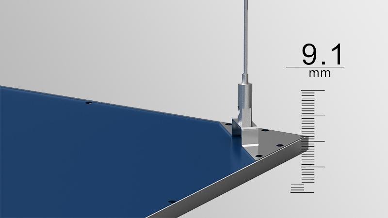Pannello LED Quadrum - dettaglio installazione a sospensione